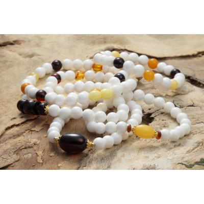 Rainbow Shell Amber Necklace