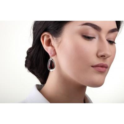 Silver Cleopatra Amber Earrings