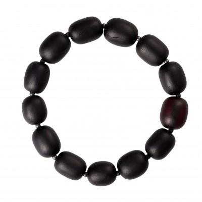 Black Cylinder Amber Bracelet