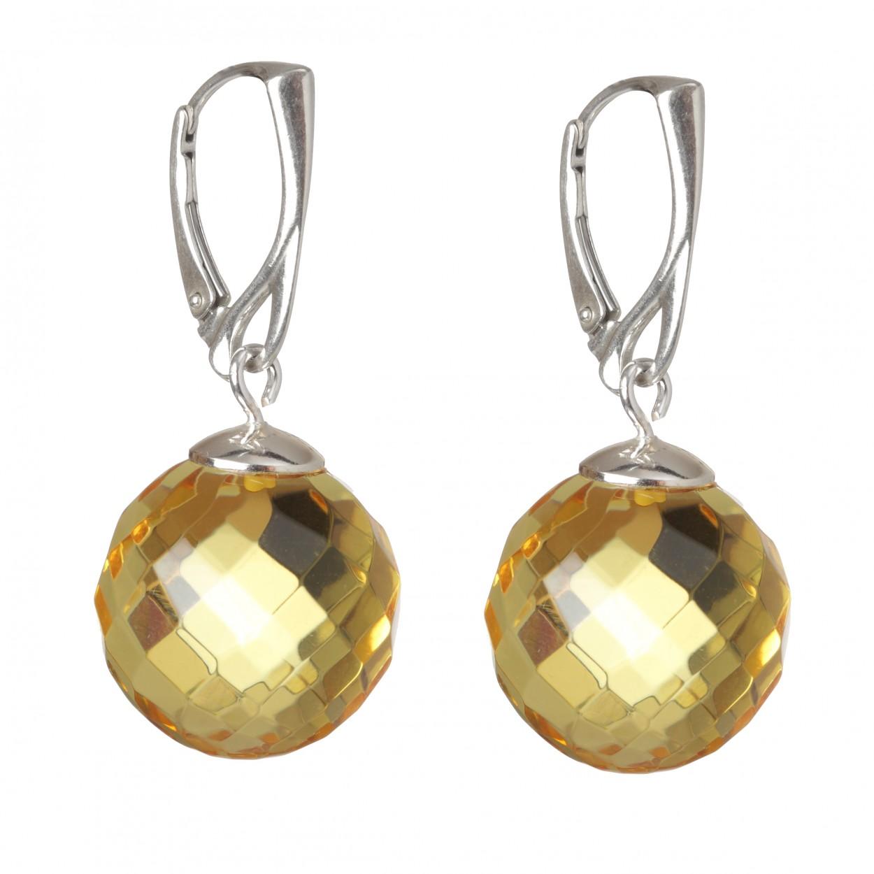 Diamond Beads Amber Earrings