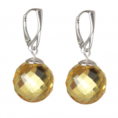 Diamond Balls Amber Earrings