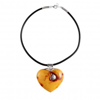 Big Heart  Amber Pendant