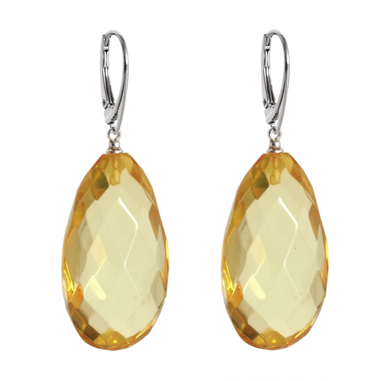 Lemon Diamond Amber Earrings