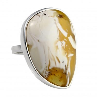 Snowflake Amber Ring