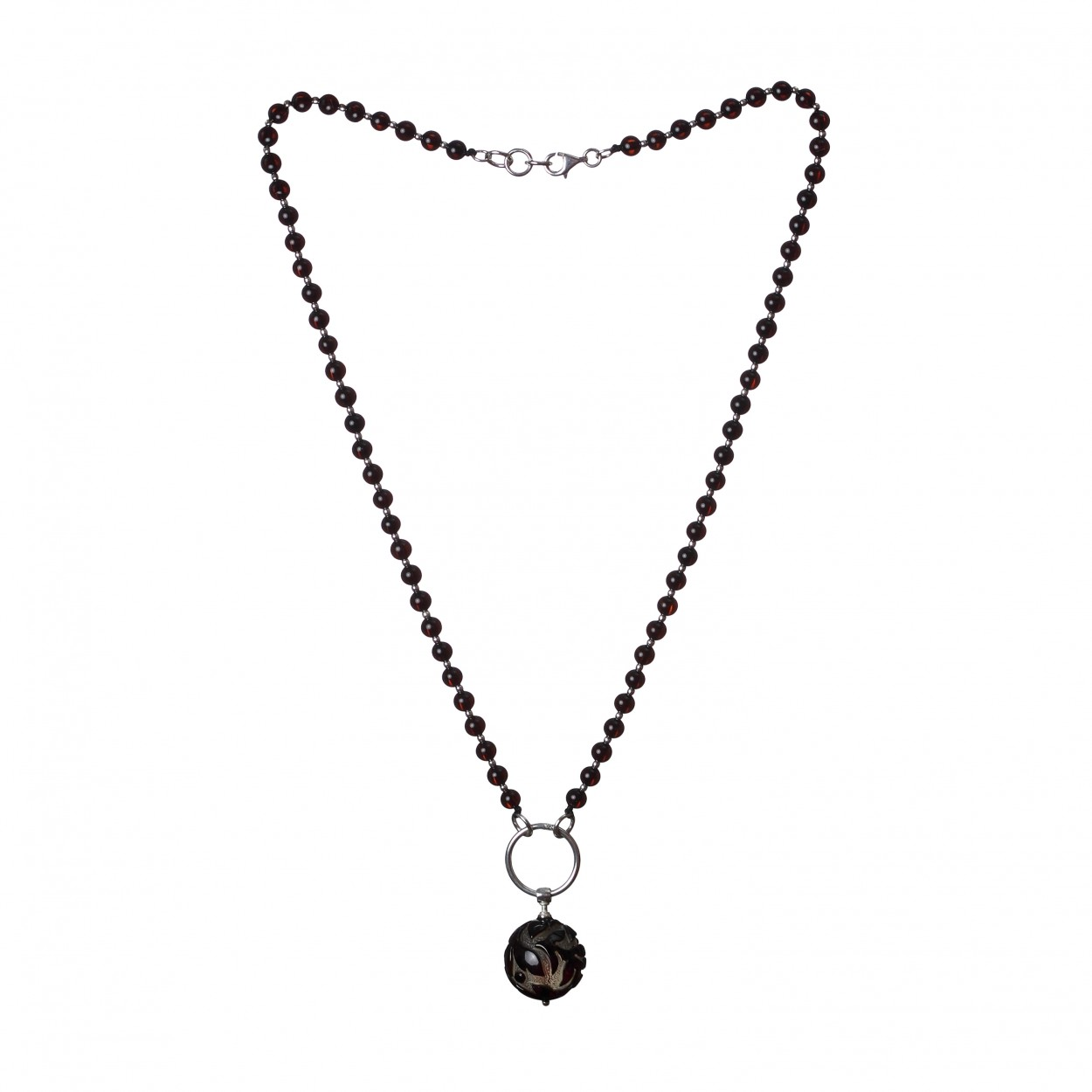 Amber Necklace Floral Ball