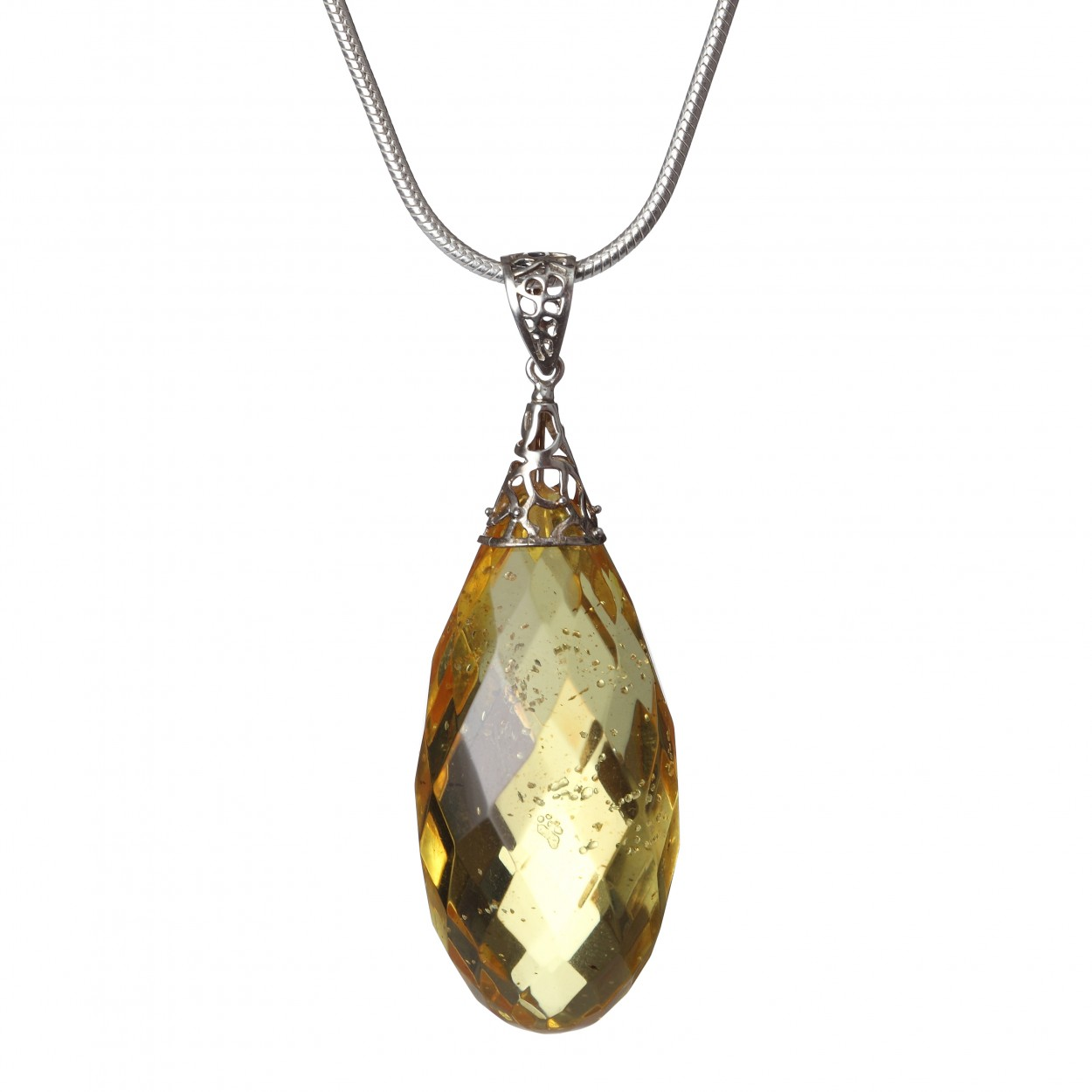 Lemon Diamond on the Chain Amber Pendant