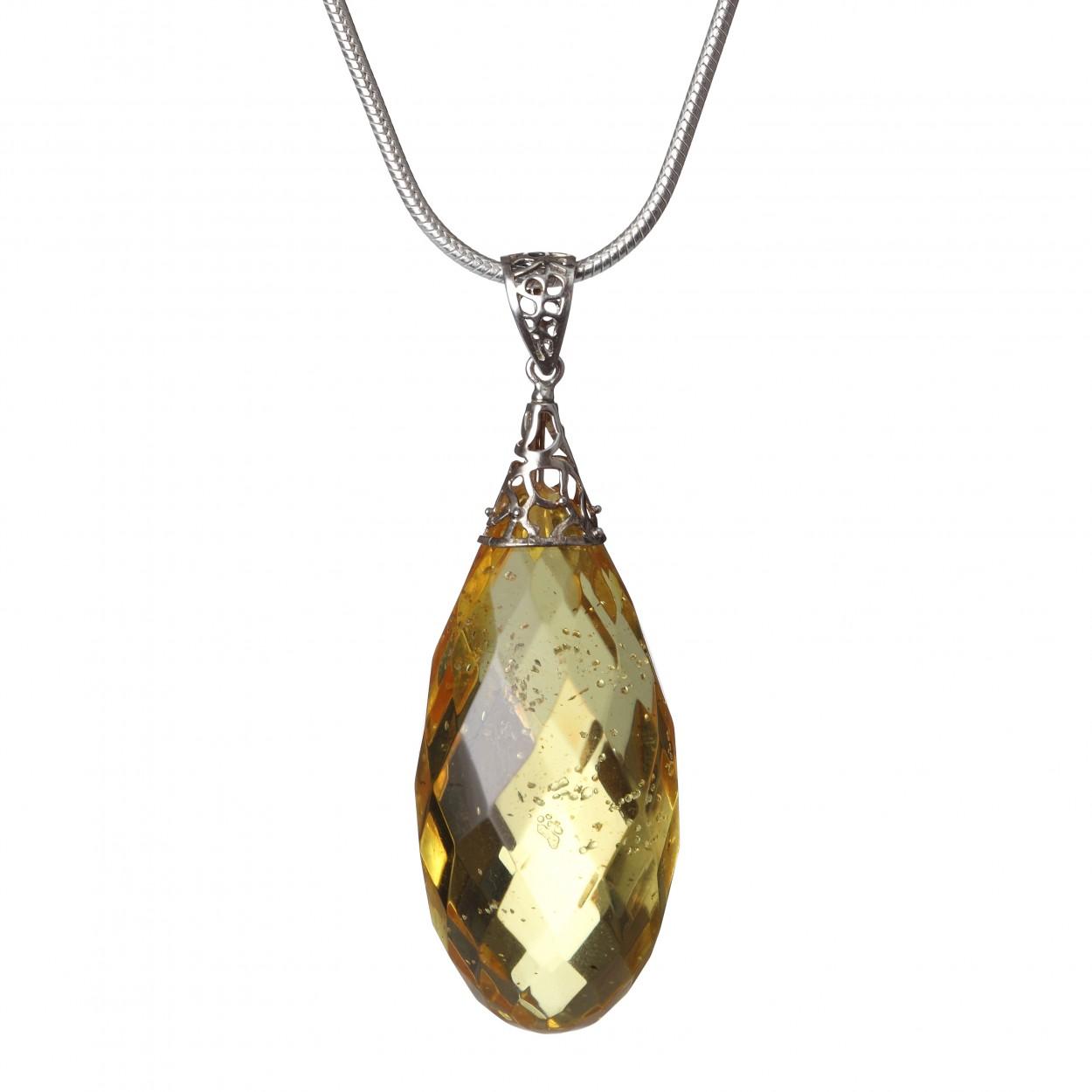 Lemon Diamond on the Chain Amber Pendant