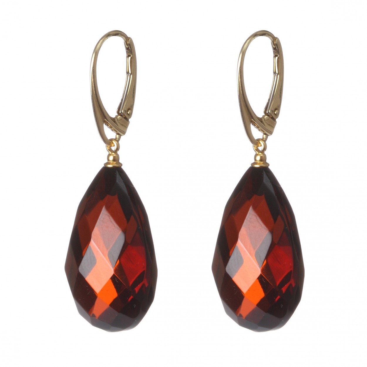 Cherry Diamond Amber Earrings