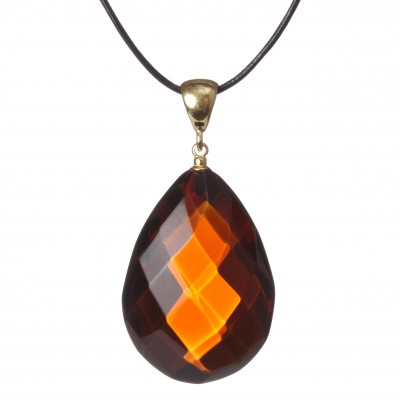 Cherry Diamond Amber Pendant
