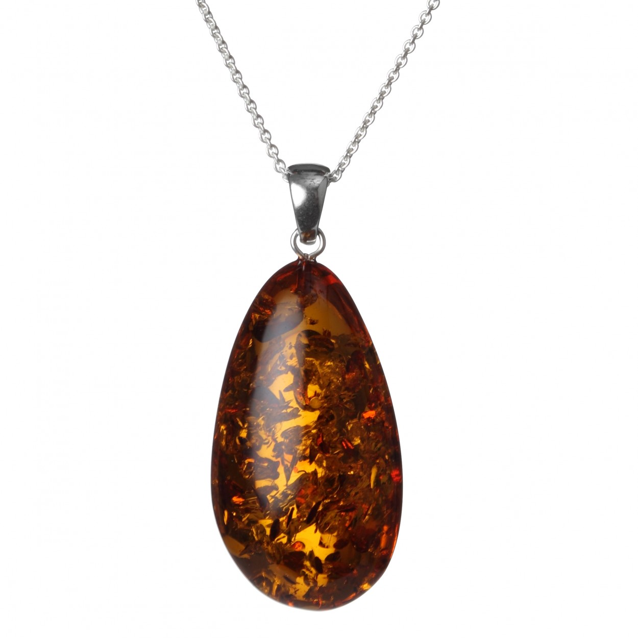 Classic Amber Pendant on the Silver Chain
