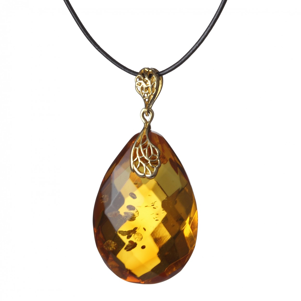 Honey Diamond Amber Pendant