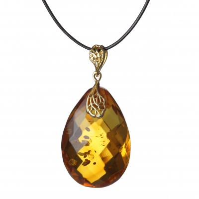 Honey Diamond Amber Pendant