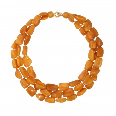 Yellow Rain Amber Necklace