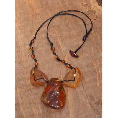 Three Stones Amber Necklace