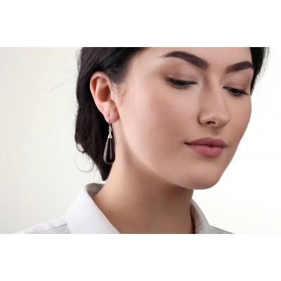 Perfect Dark Drop Amber Earrings