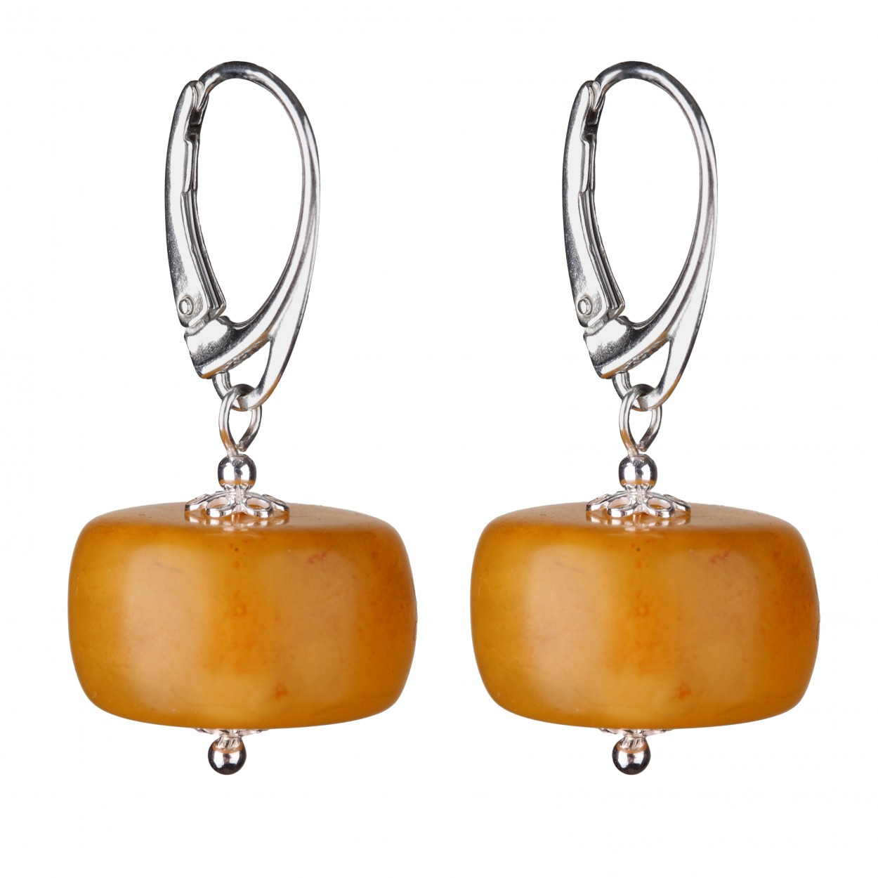 Yellow Buttons  Amber Earrings