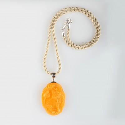 Carved Dragon Amber Pendant
