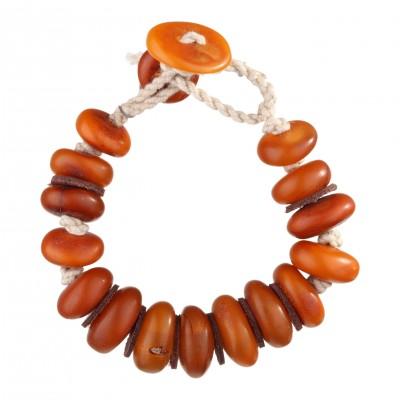 Antique Buttons Amber Bracelet