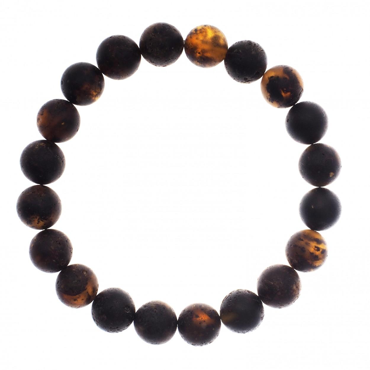 Black Beads Amber Bracelet