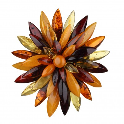 Flower Queen Amber Brooch