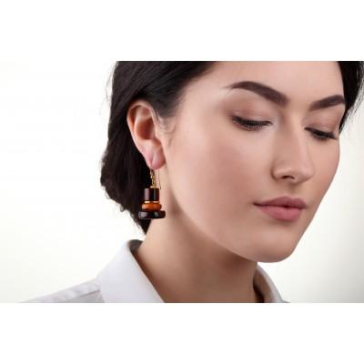 Pyramid Amber Earrings
