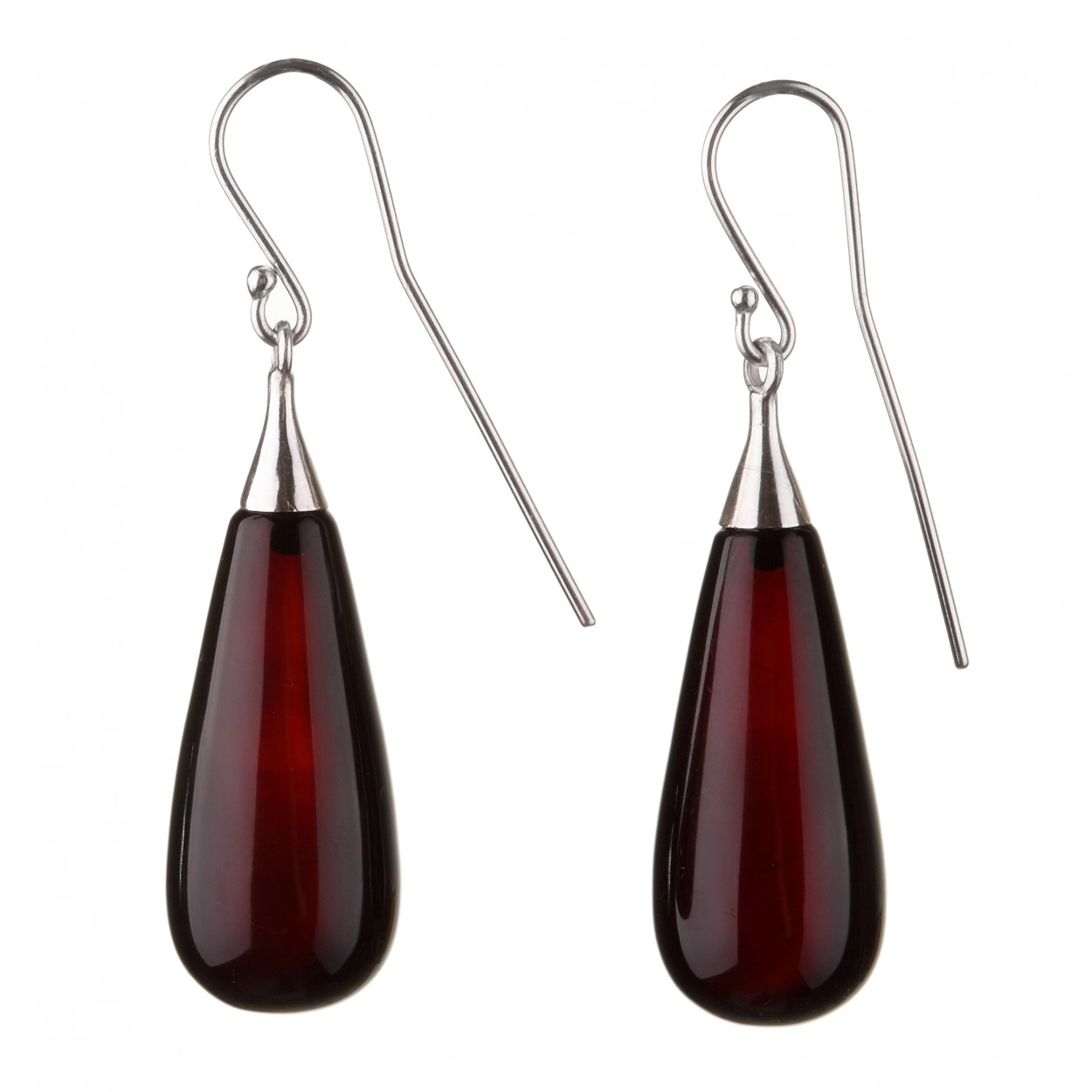 Perfect Dark Drop Amber Earrings