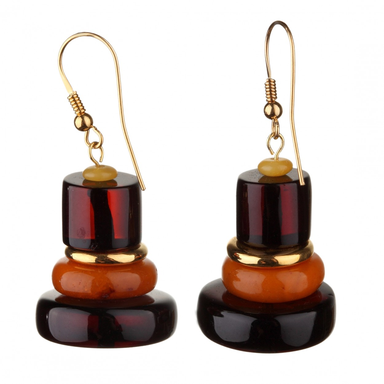 Pyramid Amber Earrings