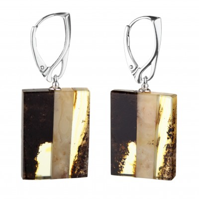 Mosaic Style Amber Earrings