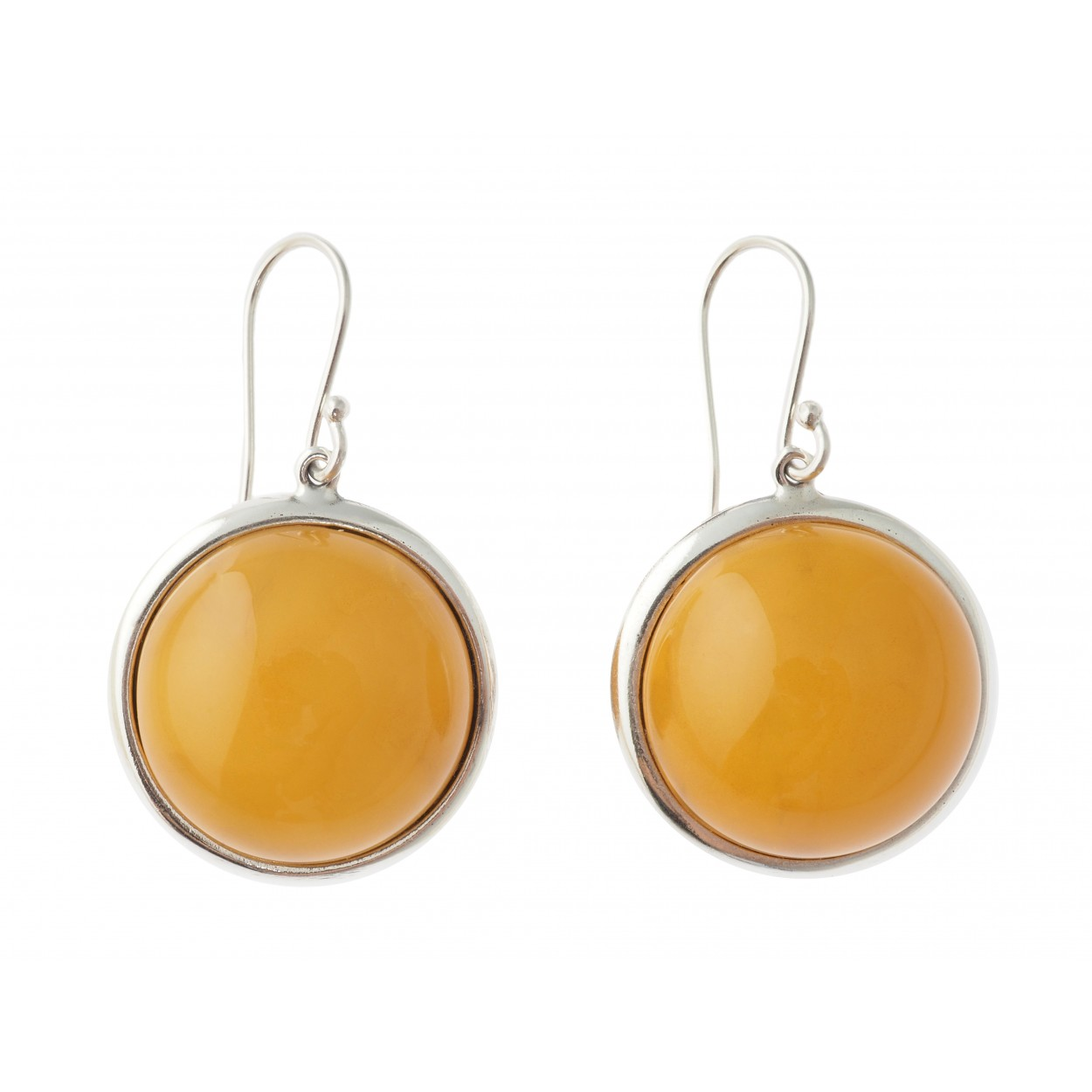 Yellow Coins Amber Earrings