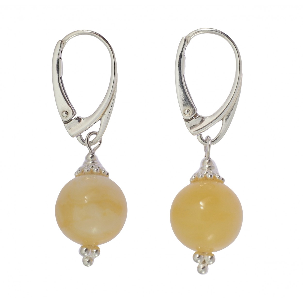 Snow Balls Amber Earrings