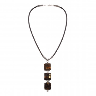 Triple Mosaic Amber Necklace