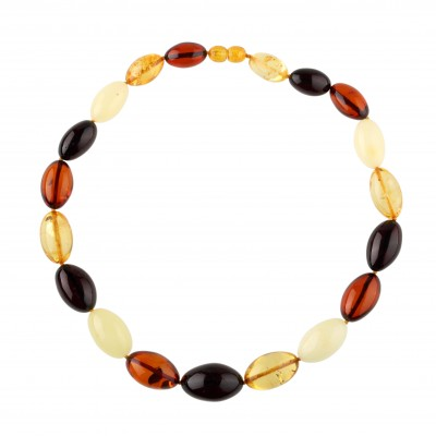 Multicolored Olives Amber Necklace