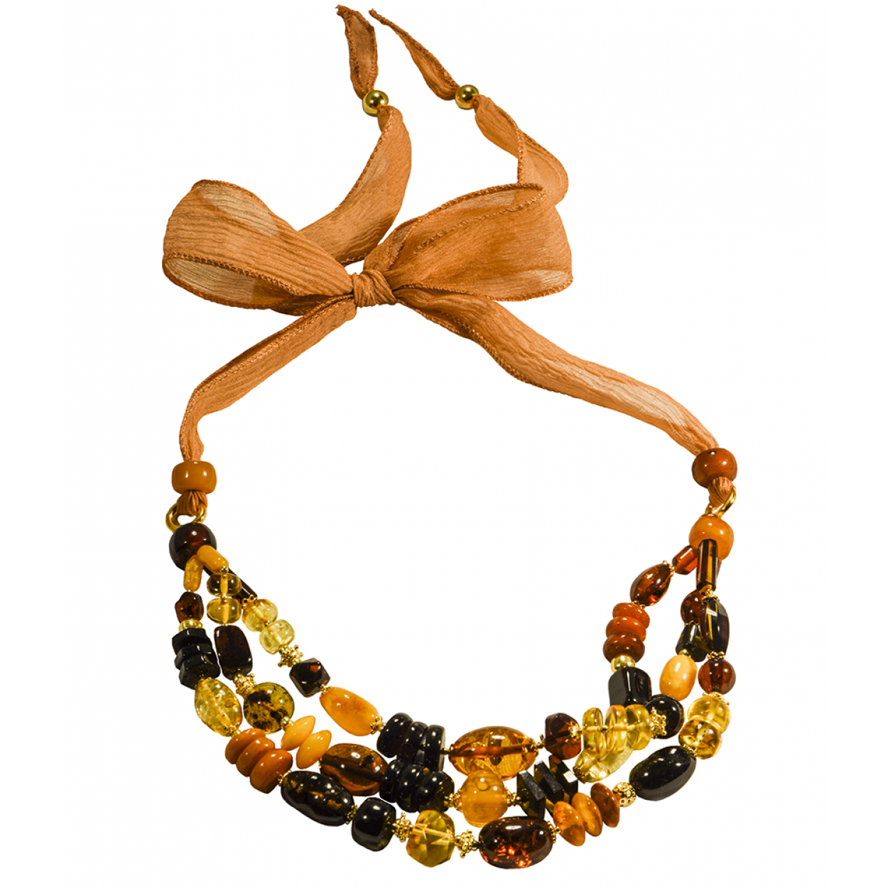 Colored Rain on Silk Amber Necklace