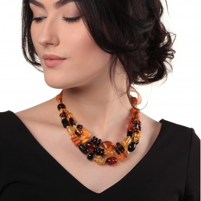 Amber Necklace Colored Rain on Silk