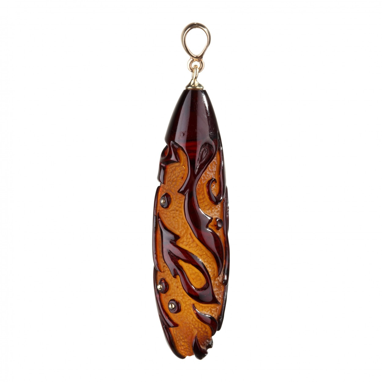Carved Drop Amber Pendant