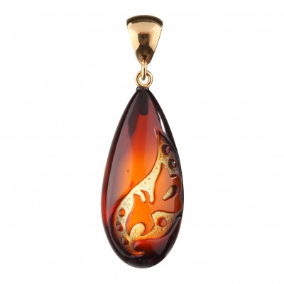 Flower in Drop Amber Pendant