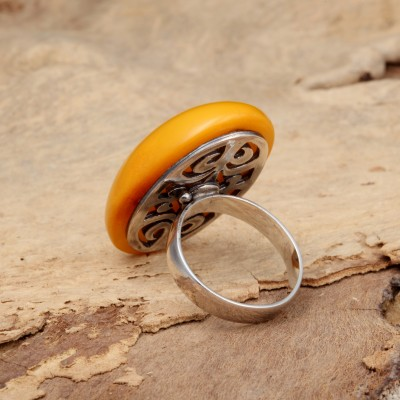 Sunny Almond 2 Amber Ring