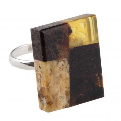 Mosaic Amber Ring