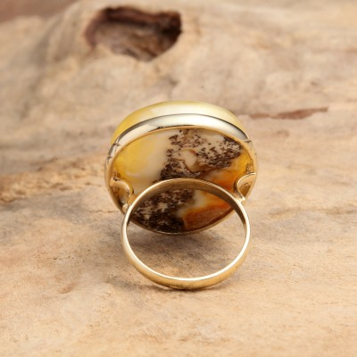 Foggy Stone Amber Ring