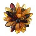 Multicolored Chrysanthemum Flower Amber Brooch