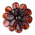 Dark Camomile Flower Amber Brooch