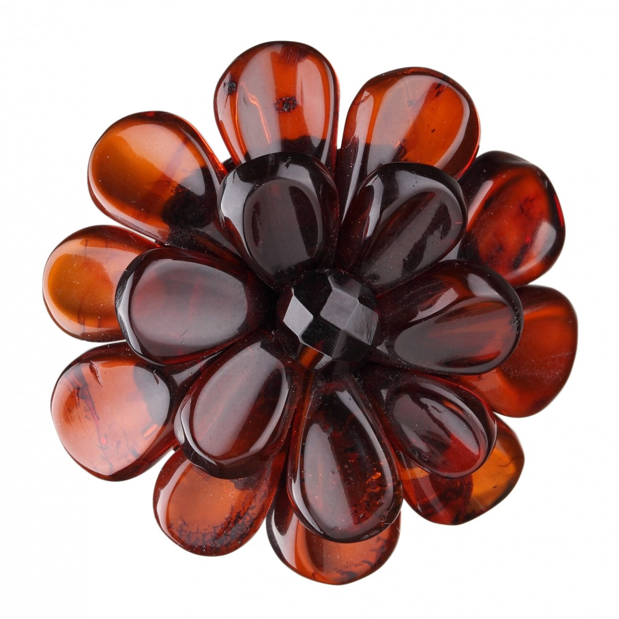 Dark Camomile Flower Amber Brooch