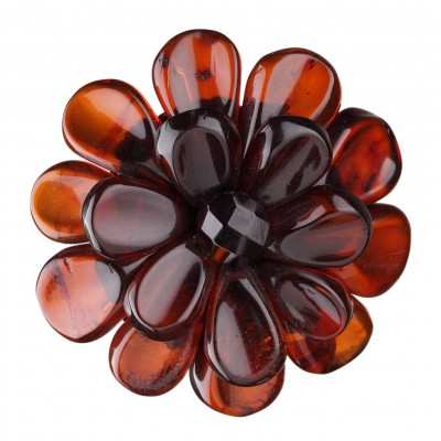 Amber Brooch Dark Camomile Flower