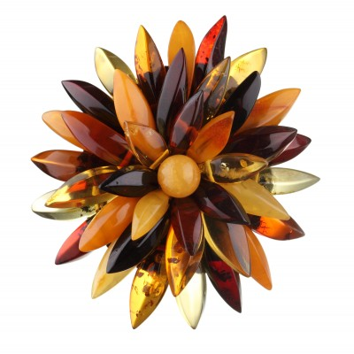 Multicolored Chrysanthemum Flower Amber Brooch