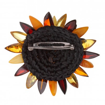 Amber Brooch Multicolored Chrysanthemum Flower