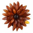 Antique Chrysanthemum Flower Amber Brooch