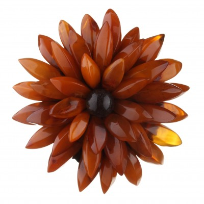Amber Brooch Antique Chrysanthemum Flower