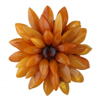Amber Brooch Chrysanthemum Flower