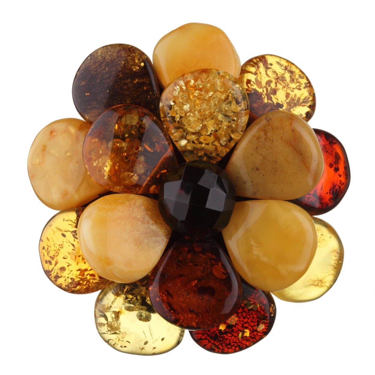 Camomile Flower Amber Brooch