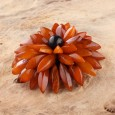 Antique Chrysanthemum Flower Amber Brooch